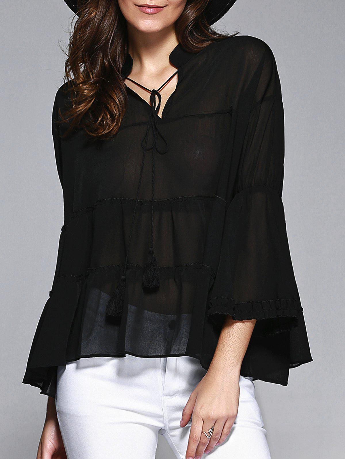 Sweet Women's Plus Size Bell Sleeves Flounced Blouse - BLACK 5XL