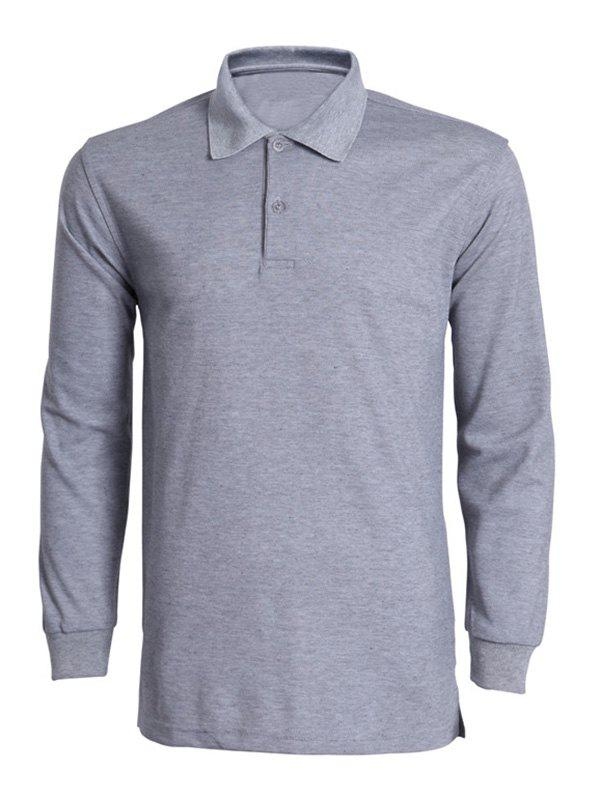 Solid Color Turn-Down Collar Long Sleeve Men's T-Shirt - GRAY L