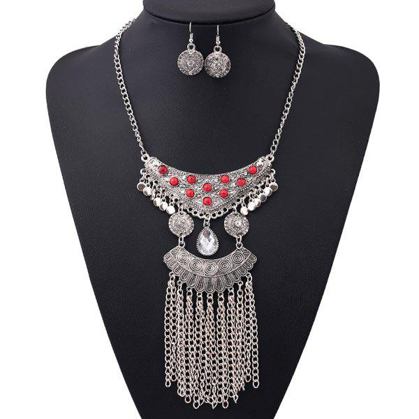 A Suit of Rhinestone Beads Water Drop Necklace and Earrings - SILVER/RED