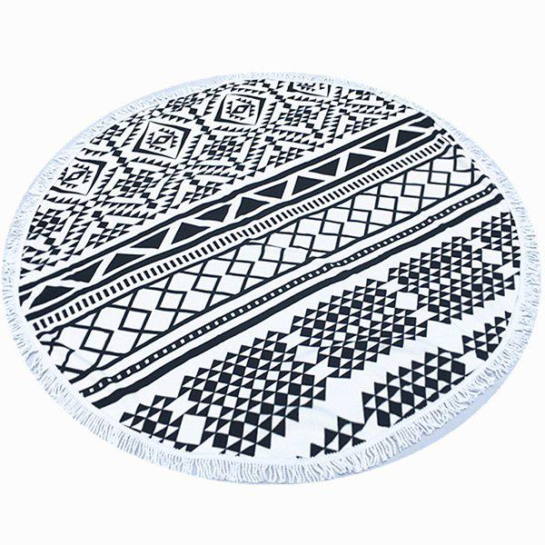 Tropical Style Tassel Fringing Yoga Mat Gypsy Cotton Tablecloth Black Triangle Printed Round Beach Throw - WHITE/BLACK