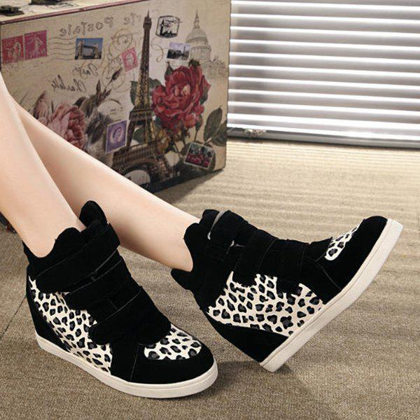 Stylish Suede and Leopard Printed Design Women's Short Boots - BLACK 37