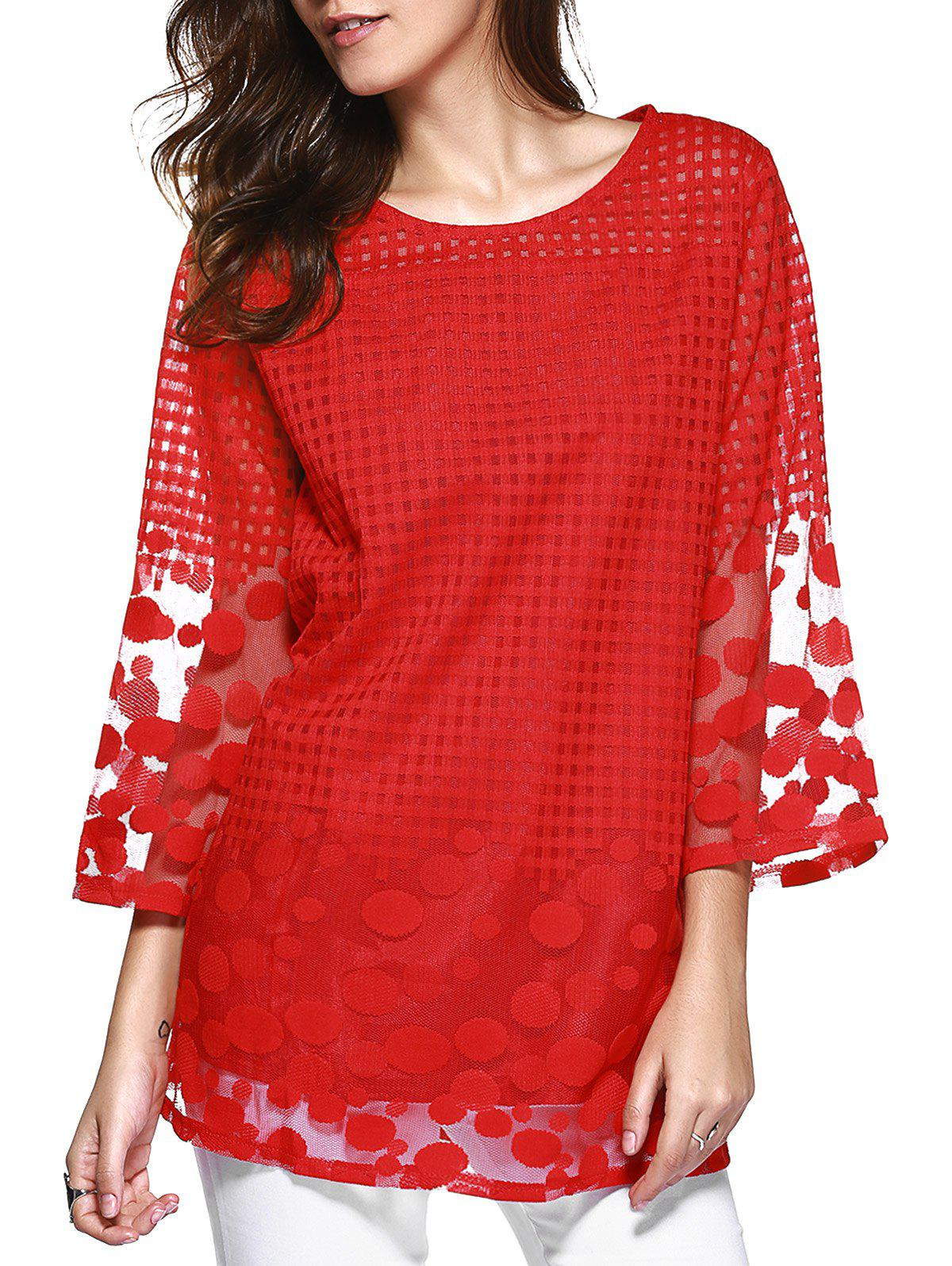 Attractive Plaid Spliced Polka Dot Chiffon Blouse - RED 5XL