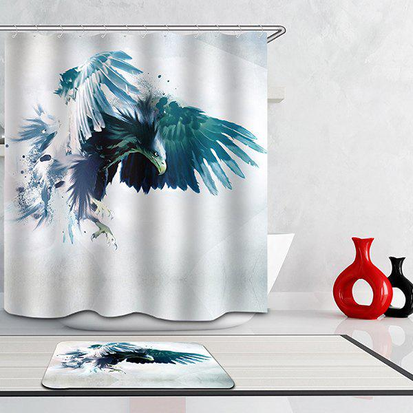 Hot Selling Bathroom Ink Eagle Pattern Waterproof Shower Curtain - COLORMIX