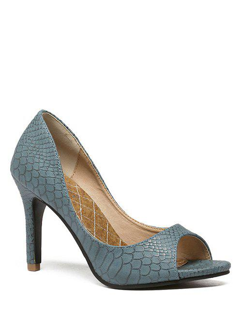 Stylish Snake Embossed and Solid Color Design Women's Peep Toe Shoes - BLUE 37