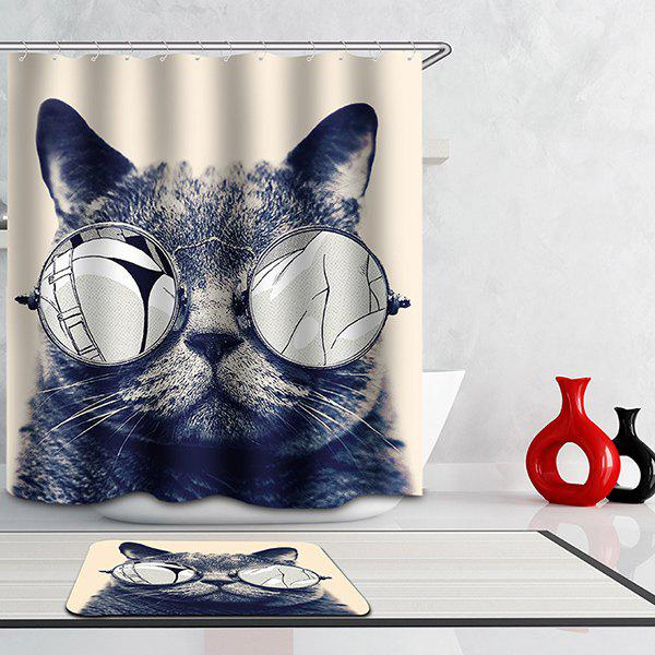 Hot Selling Bathroom Glasses Cat Pattern Waterproof Shower Curtain - COLORMIX