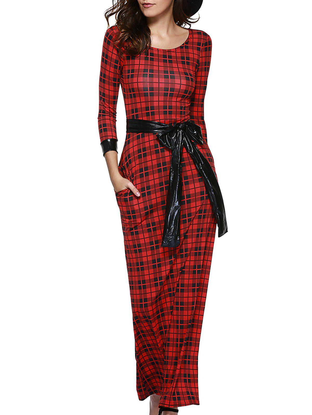 Retro Womens Plaid Belted Maxi Dress