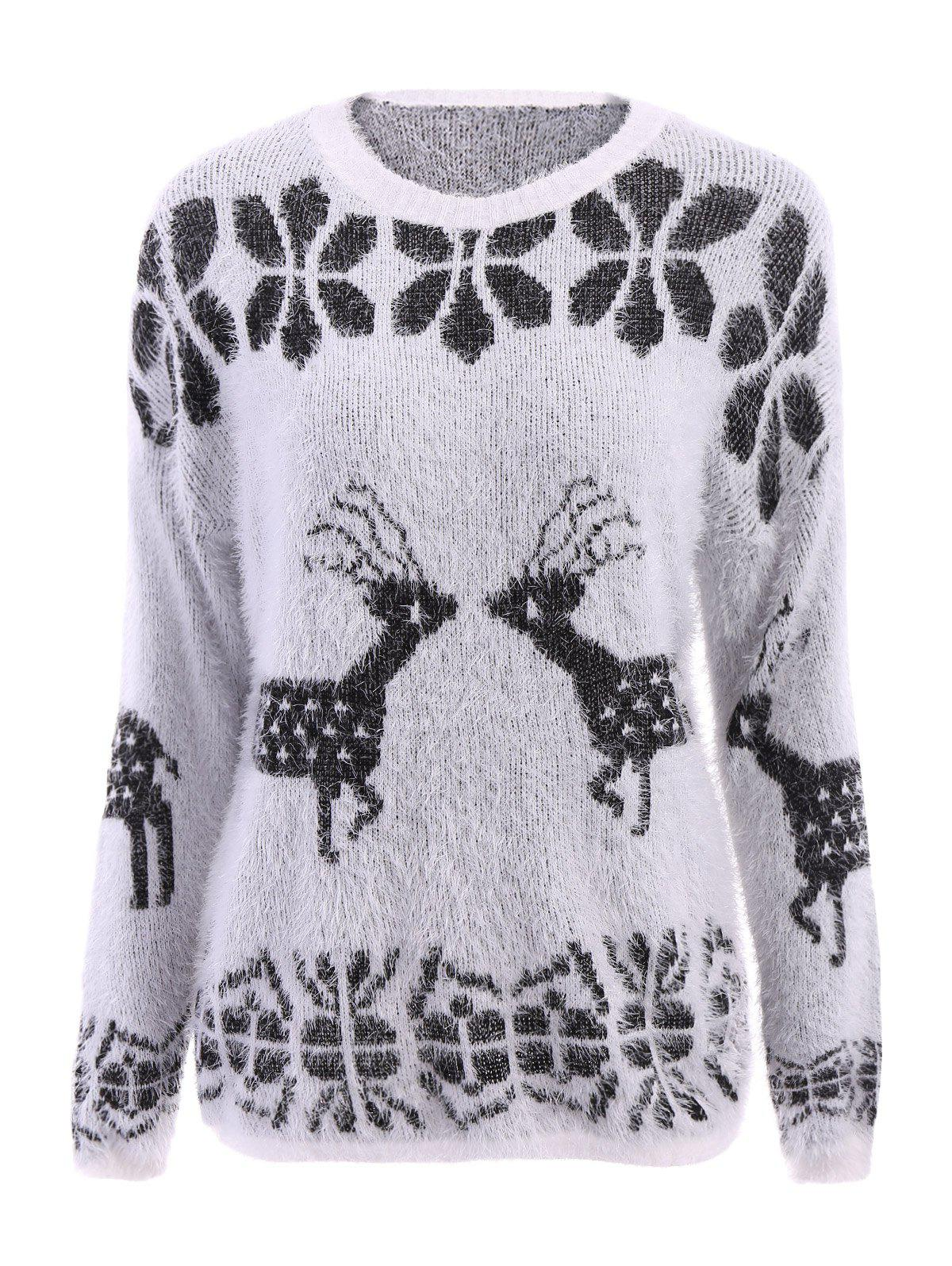 Stylish Scoop Neck Deer Pattern Long Sleeve Christmas Sweater For Women - WHITE ONE SIZE(FIT SIZE XS TO M)