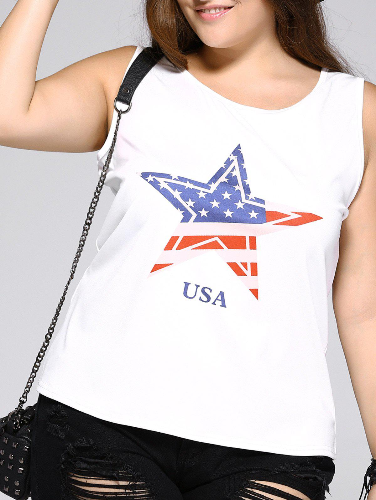 Oversized Brief Star and Letter Print Tank Top - WHITE 3XL