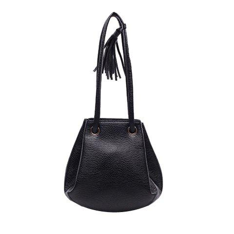 Leisure Tassel and Drawstring Design Women's Crossbody Bag - BLACK
