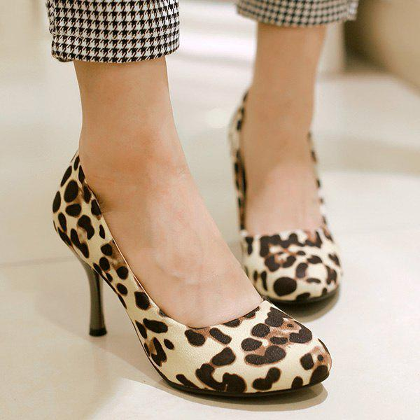 Fashionable Stiletto Heel and Leopard Printed Design Women's Pumps