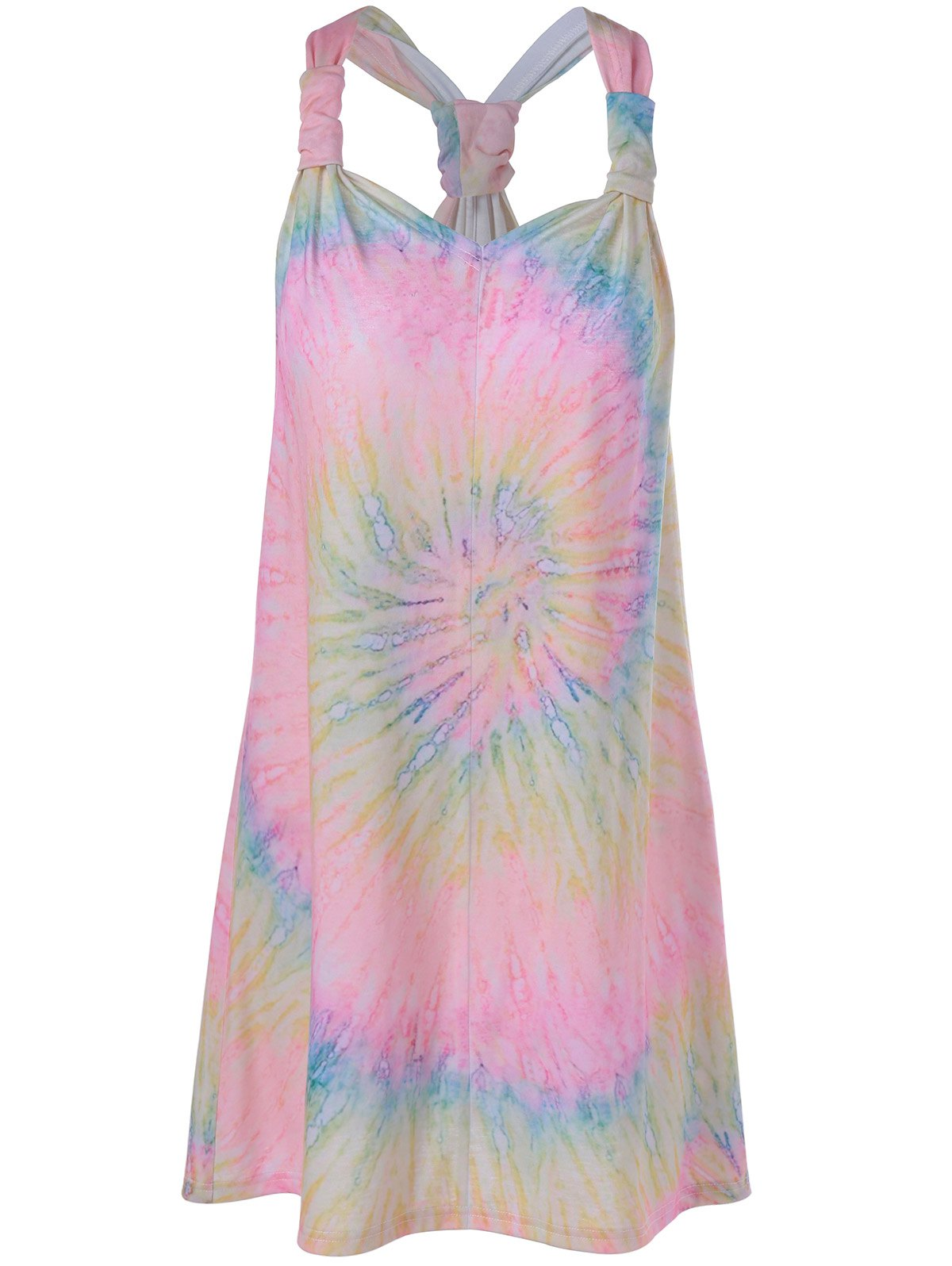 Fashionable Spaghetti Strap Tie-Dyed Racerback Dress For Women - LIGHT PINK XL