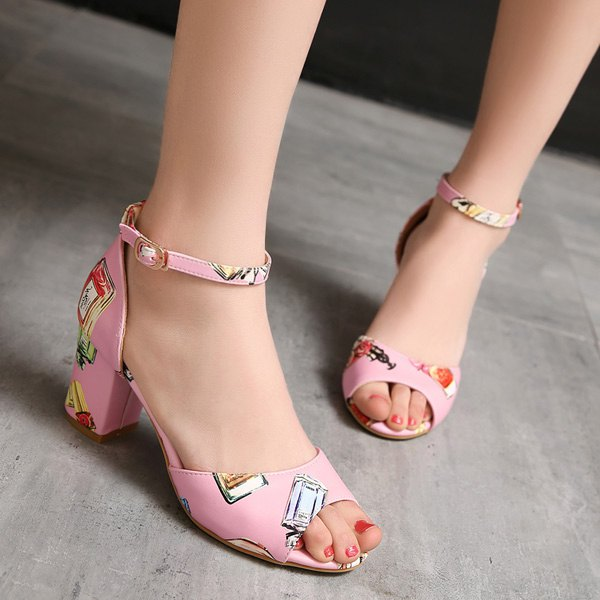 Trendy Ankle Strap and Perfume Bottle Printed Design Women's Sandals