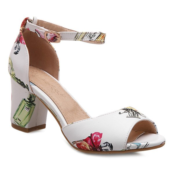 Trendy Ankle Strap and Perfume Bottle Printed Design Women's Sandals - WHITE 39