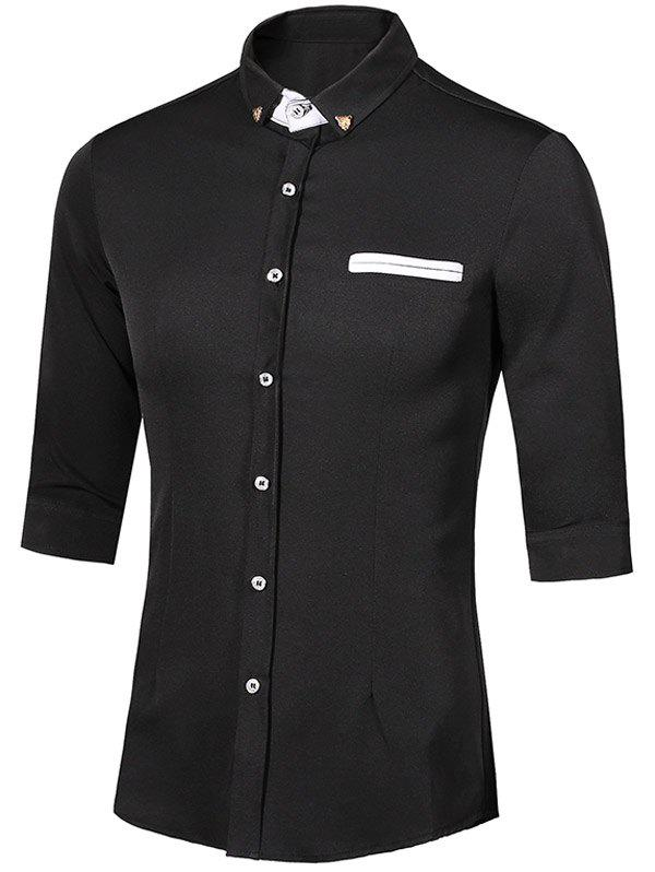 Metal Detail Button-Down Turn-Down Collar Three-Quarter Sleeves Men's Shirt - BLACK M