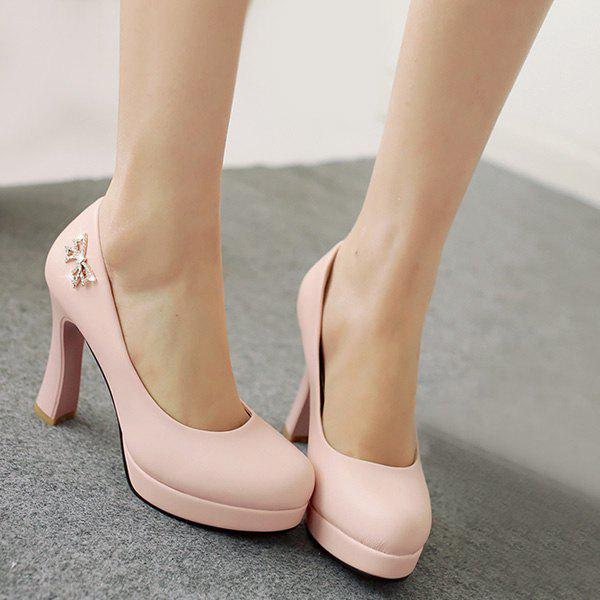Fashionable Platform and Bow Design Women's Pumps - PINK 39