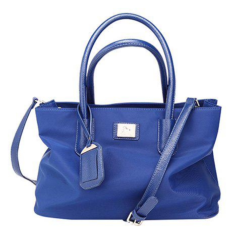 Leisure Solid Color and Nylon Design Women's Tote Bag - BLUE