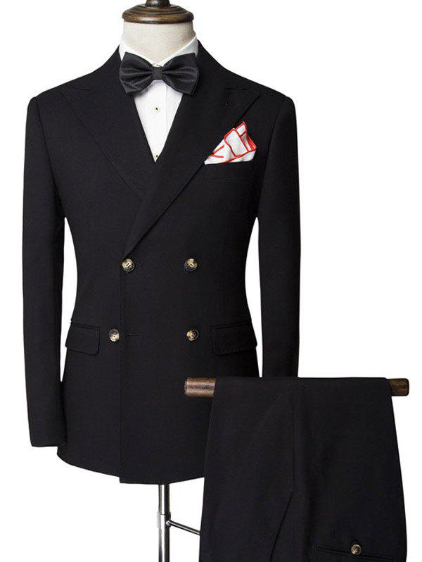Double-Breasted Slimming Lapel Long Sleeve Men's Twinset Suit ( Blazer + Pants ) - BLACK XL