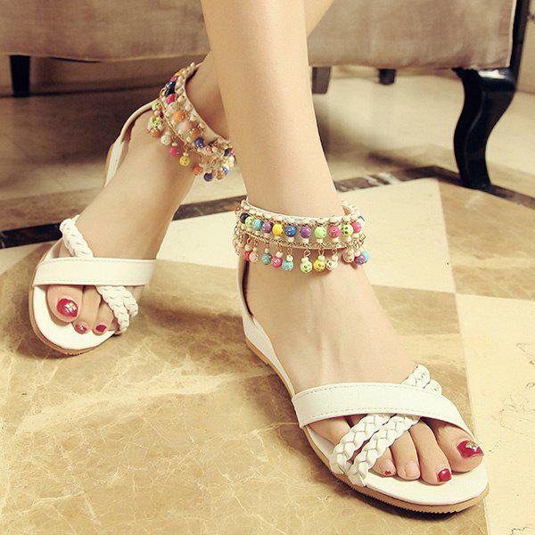 Casual Weave and Beading Design Women's Sandals - 38 WHITE