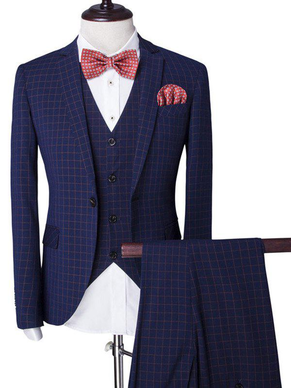 Vintage Plaid Single Breasted Lapel Long Sleeve Men's Three-Piece Suit ( Blazer + Waistcoat + Pants ) - BLUE 2XL