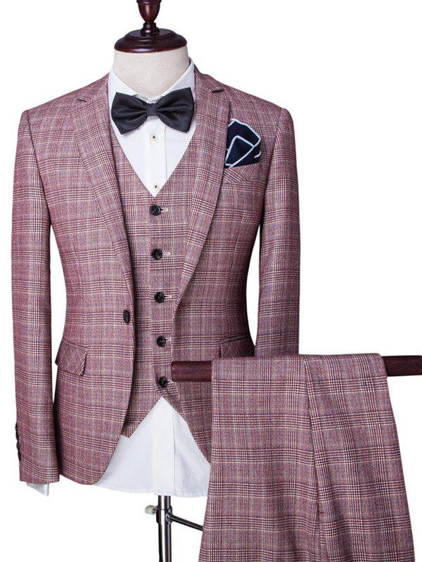 Checked Single Breasted Lapel Long Sleeve Men's Three-Piece Suit ( Blazer + Waistcoat + Pants ) - PINK 2XL