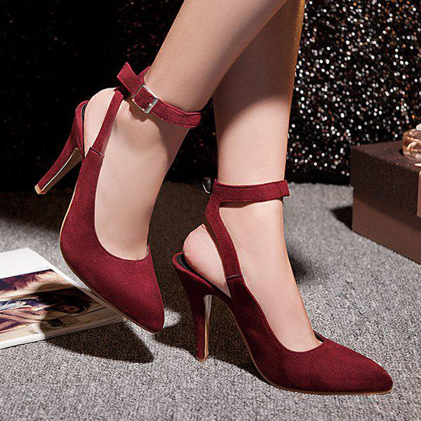 Fashionable Slingback and Suede Design Women's Pumps - WINE RED 43