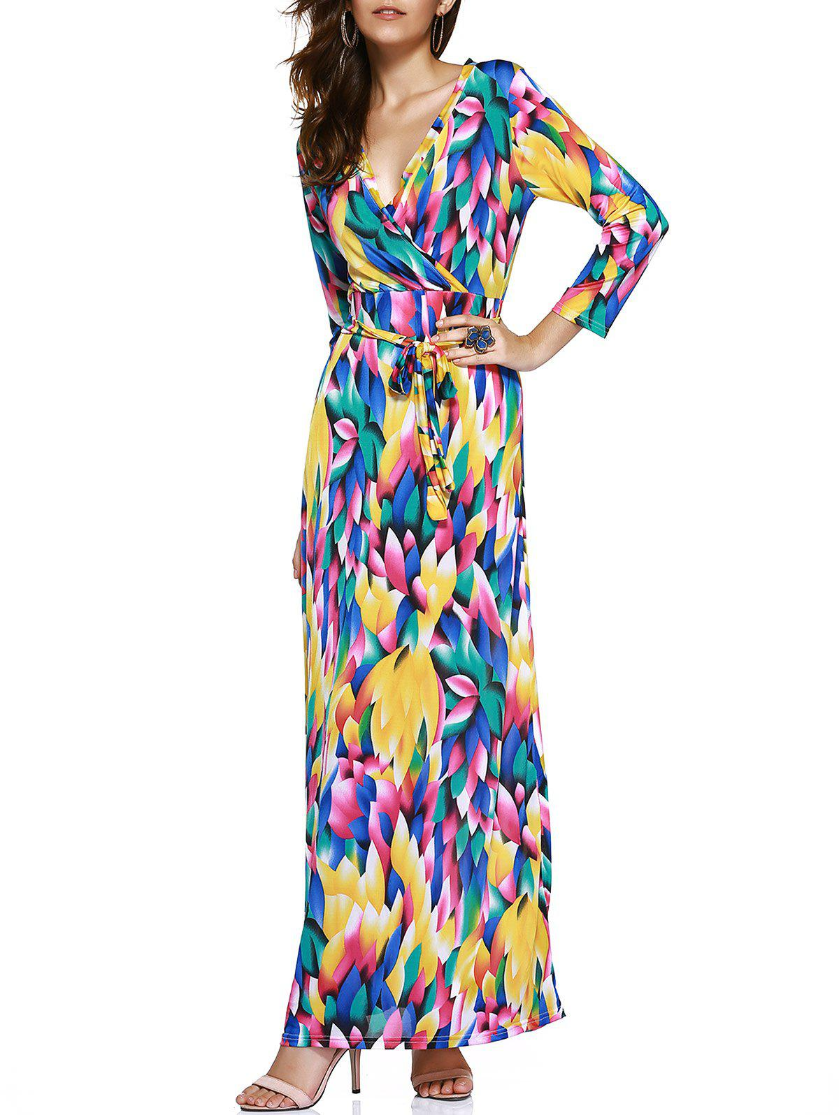 Trendy Women's Plunging Neck Colored Printed Maxi Dress - COLORFUL ONE SIZE