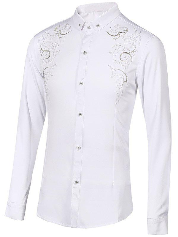 Turn-Down Collar Floral Embroidery Long Sleeve Button-Down Men's Shirt - WHITE 2XL