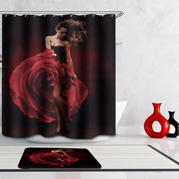 High Quality Bathroom Dancing Girl Pattern Waterproof Shower Curtain - COLORMIX