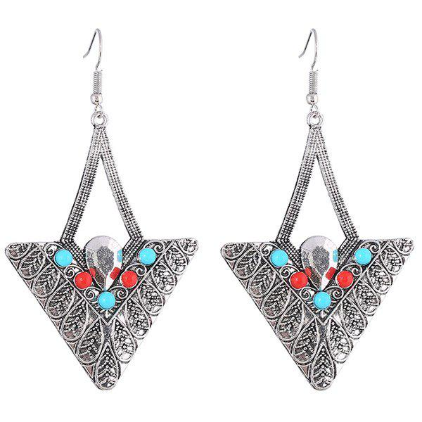 Pair of Embossed Alloy Beads Triangle Earrings landscape photo frame of the living room of the paris tv tower living tv background wallpaper wallpaper wall canvas