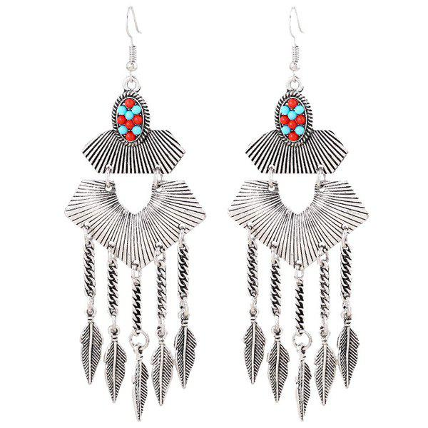 Pair of Embossed Beads Leaf Alloy Earrings - SILVER