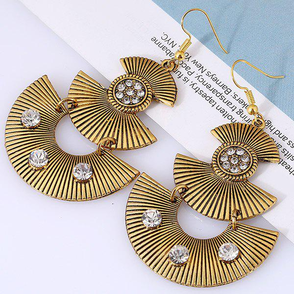 Pair of Bohemian Alloy Embossed Beads Fan Shaped Earrings -  GOLDEN