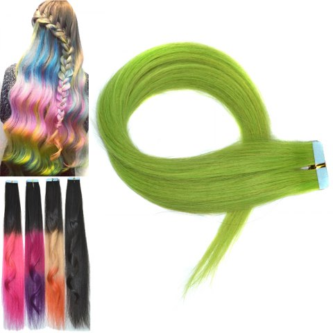 Stylish Colorful Traceless Straight Human Hair Extension For Women - GREEN