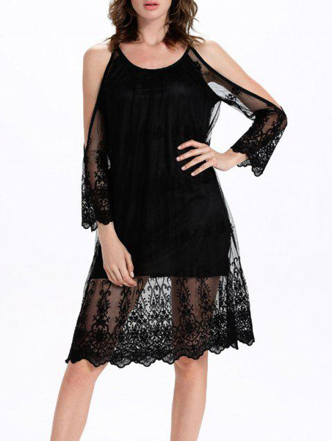 Split Sleeve Tulle Spliced Cutout Translucent Dress - BLACK L