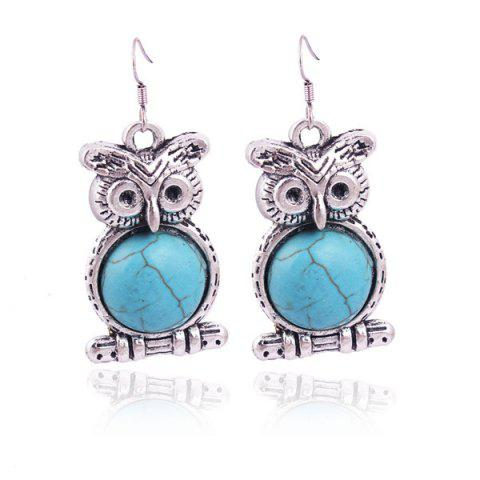 Pair of Vintage Faux Turquoise Bead Owl Shape Earrings - SILVER