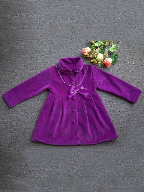 Manteau mode bowknot Embellish Single-breasted manches longues pour fille - Pourpre 140