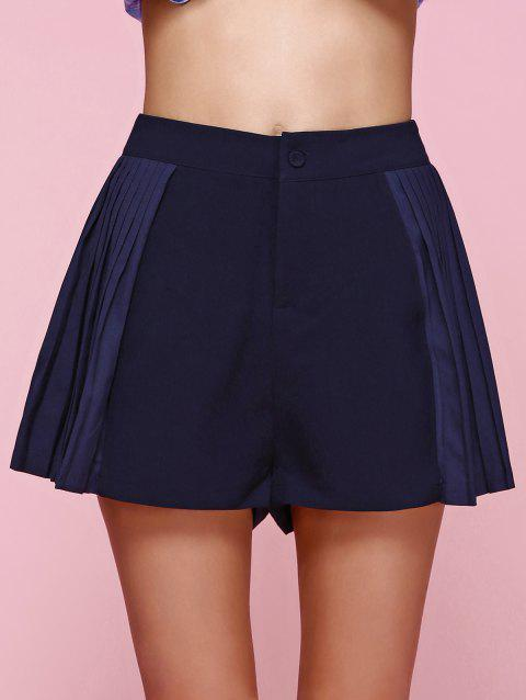 Stylish High Waist Side Pleated Shorts For Women - CADETBLUE M