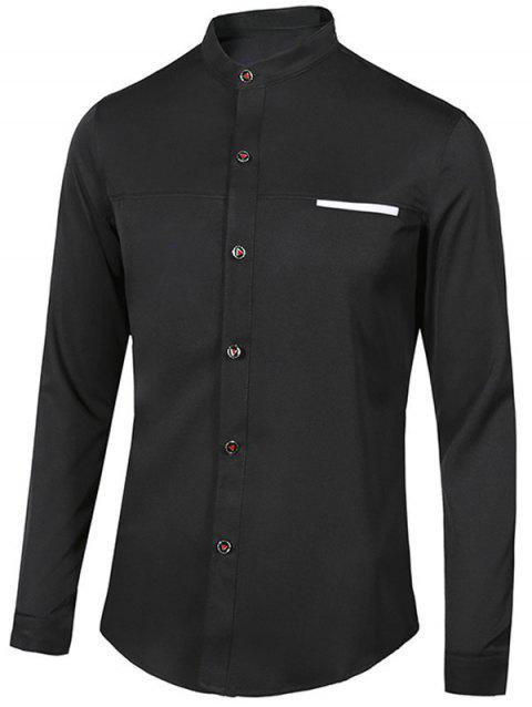 Stand Collar Edging Long Sleeve Men's Shirt - BLACK L