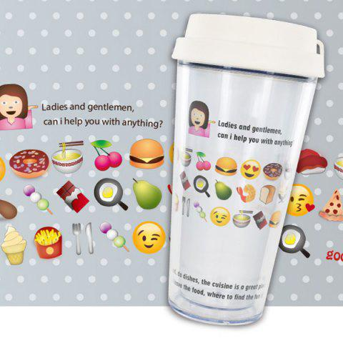 Creative Double Cartoon Expression Leakproof Cover Cup With Straw - WHITE