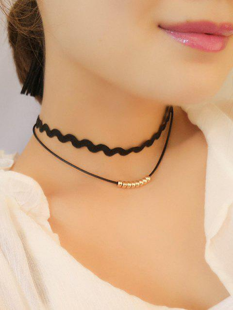 Layered Wave Choker Necklace - GOLDEN