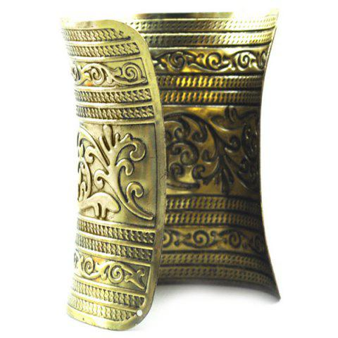 Vintage Emboss Floral Cuff Bracelet For Women - GOLDEN