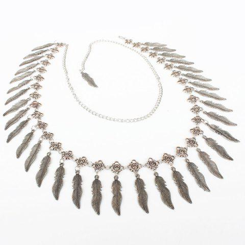 Faux Feather Tassel Belly Chain - SILVER
