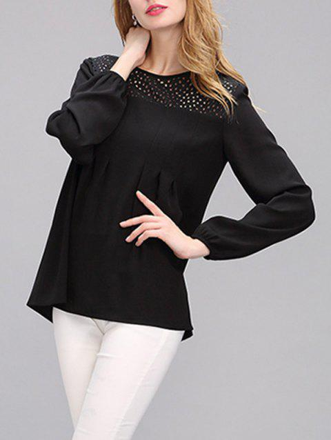 Simple Women's Hollow Out Puff Sleeves Spliced Chiffon Blouse - BLACK XL