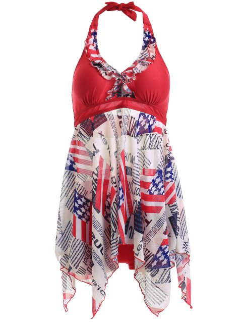 Flag Print Halter Neck Irregular Hem Deux Piece Swimsuit - Rouge S