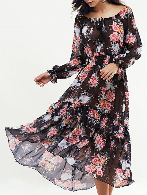 41 Off 2019 Bohemian Floral Swingy Long Sleeve Maxi Dress In Black