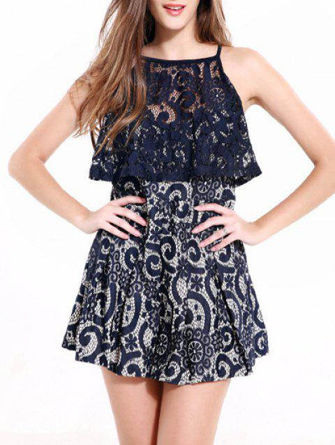 Spaghetti Strap Lace Spliced Romper - DEEP BLUE M
