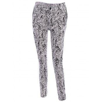 Simple Leaf Print Buttoned Pants For Women