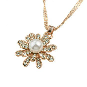 A Suit of Faux Pearl Flower Necklace and Earrings and Ring - ROSE GOLD ONE-SIZE
