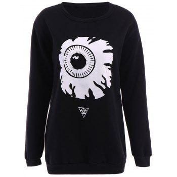 Boyfriend Style Jewel Neck Long Sleeve Eyeball Pattern Women's Pullover Sweatshirt