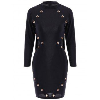 Sexy Women's Round Neck Long Sleeves Hollow Out Bodycon Dress