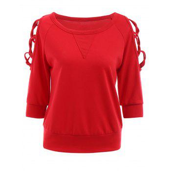 Fashionable Round Neck 3/4 Sleeve Criss-Cross Hollow Out Women's Red Sweatshirt